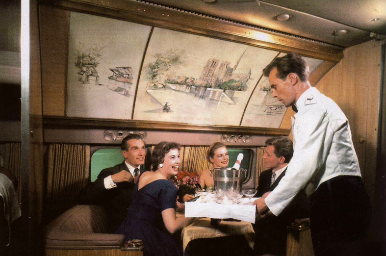 Air France Golden Parisian Steward Serving Drinks